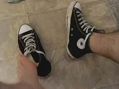 Cumming on my dirty Converse Chuck allstar sneakers play
