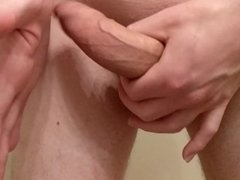 Slow-Motion Shaved Uncut Cock Masturbation Close Up Low Hangers