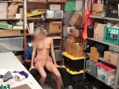 Office fuck with blonde slut and a stud