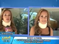 Model in sexy tight skirt and neck brace