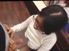 Sluty Japanese librarian fucks client