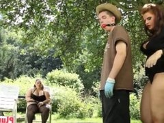 Gardener relaxes while getting dick sucked by couple of lusty BBW babes