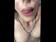 horny slim tattoo girl afternoon tease dancing pussy boobs play on bed