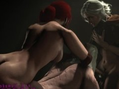 The Witcher - Geralt dominated by Ciri & Triss ( Futa x Male ))