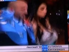 Marika Fruscio oops big boobs pop out of dress live tv