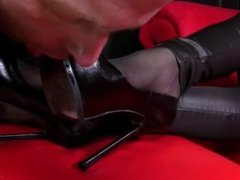 Mistress Nikita, Her Heels, Hose and Shiny Pants
