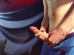 Wanking my big cock and cumming