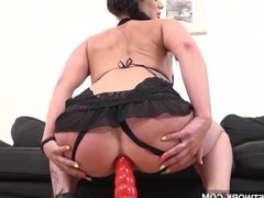 Mature babe gets pussy and anal fucked and creampied in hard
