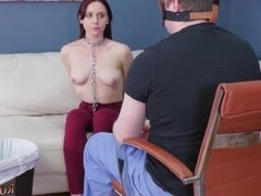 Bondage chair blowjob and s eating pussy