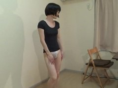 crossdresser in a T-shirt and panty