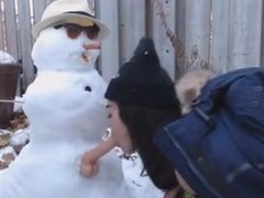 teen gets fucked by snowman outdoor