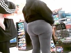 Huge Wide Gray Butt Granny at the Market!