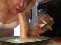 Naughty Gigi drinks a creamy slime enema