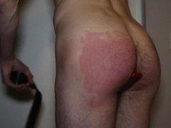 amateur anal buttplug & belt spank
