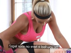 Fitness Rooms Huge natural tits babe rubs wet pussy on young
