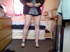 hard day at the office for this secret crossdressing sissy