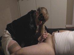Satin panty handjob and huge cumshot on satinblouse preview