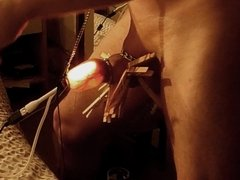 Inflated foreskin illuminated, pierced needles , pins balls