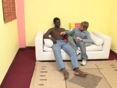 Ebony and Ivory couple get hot and nasty with their dongs on sofa