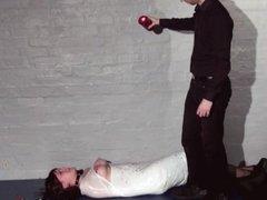 Amateur slave Louise plastic wrapped bondage and candlewax punishment