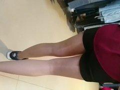 Girlfriend shiny pantyhose sneakers