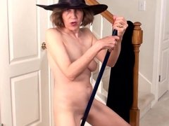 Hairy grandma masturbating with a broom