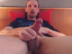 wanking my uncut cock and unloading my balls