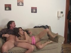 Czech teen seduces old couple into threesome