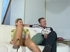 Russian blonde milf fuck have a great sex with young dude