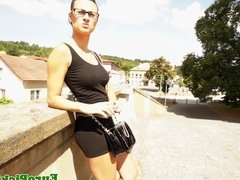 Pulled euro squirting outdoors while fingered