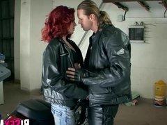 Redhead slut fucking with two bi guys
