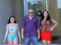 Latina MILF ass jizzed in trio with teens