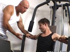 Hunky gay athlete gets it on wit his skilful coach