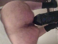 Quickie ass fuck with big Cyclops dildo