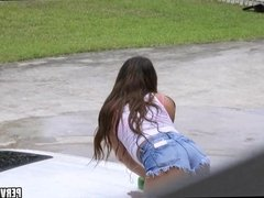 Car Wash Teen Sucks Cock POV