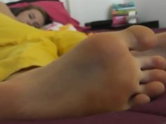Teen Takes a Nap and i look a beauty feet in amateur video
