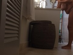 voyeur hidden cam unaware MILF in bathroom
