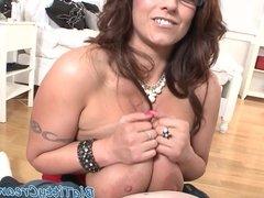 Bigtits milf sprayed with jizz over her tits