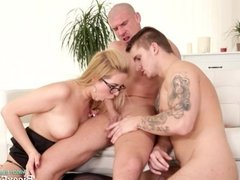 Bisexual office orgy