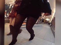pantyhose girl shopping