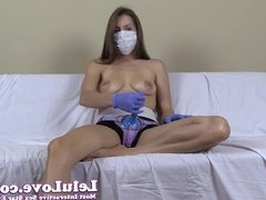Topless girl with medical mask and strapon gives you detaile