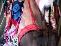 Satin silk scarves, stalkings, and cum