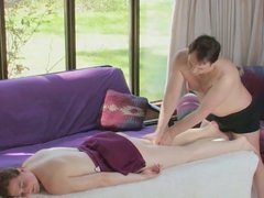 Delicious babe receives a massage and gets fucked