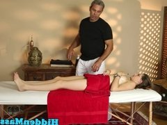 Busty massage loving babe banged by big cock