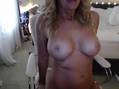 Blone MILF playing on cam with toy again
