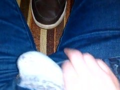 Hairy twink plays with his sneakers.