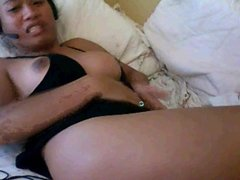 Tranny finger her ass hard on the bed