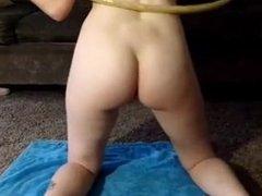 Cute Hula Hoop Girl Has to Pee