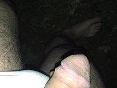 peeing with pink panties outside