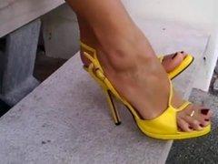 Bare Feet In Open High Heels 10
